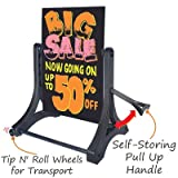 Black WO/WO (Write-On/Wash-Off) Rolling Swinger Marker Board with Wet Erase Markers;, 30'' x 42''