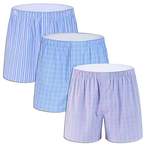 3-Pack Men's Colorful Woven Boxer Underwear 100% Cotton Premium Quality Shorts G1-Large (Best Quality Boxer Shorts)