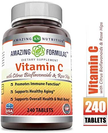 Amazing Formulas Vitamin C with Rose Hips and Citrus bioflavonoids – 240 Tablets- Non-GMO, Vegan - Promotes Immune Function* - Supports Healthy Aging* - Supports Overall Health & Well-Being*