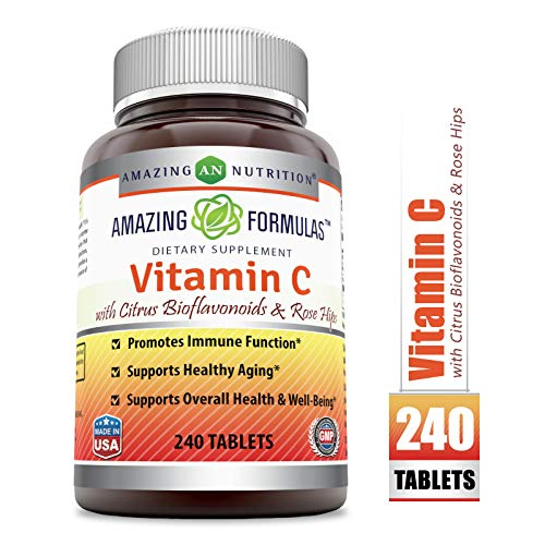 Amazing Formulas Vitamin C with Rose Hips and Citrus bioflavonoids - 240 Tablets- Non-GMO, Vegan - Promotes Immune Function* - Supports Healthy Aging* - Supports Overall Health & -