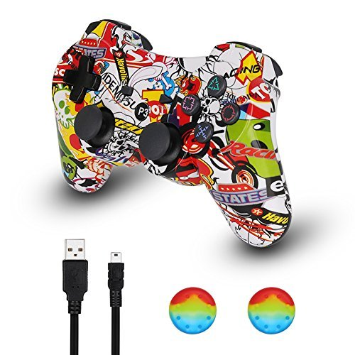Controller Playstation Wireless 3 Ps3 (PS3 Controller Wireless Dualshock Joystick - KLNO PS30 Bluetooth Gamepad Sixaxis, Super power, USB Charger, Sixaxis, Dualshock3 including 1 cable For Playstation 3 …)