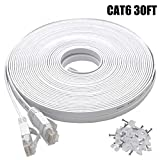 30 ft internet cable - Cat6 Ethernet Cable 30 FT White, Intelart Cat-6 Flat RJ45 Computer Internet LAN Network Ethernet Patch Cable Cord - 30 Feet