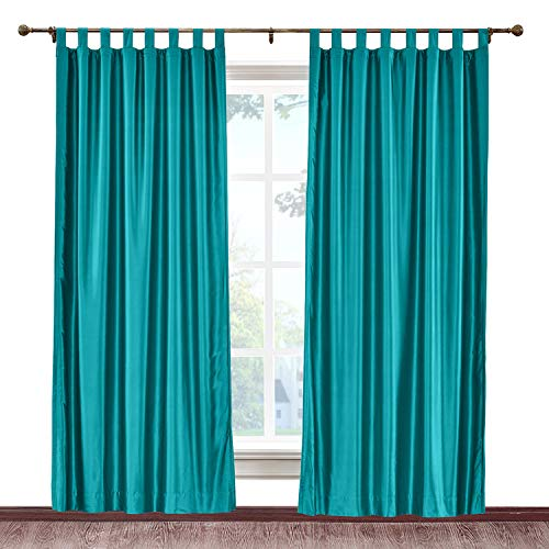 (cololeaf Tab Top Faux Silk Curtains Drapery Panel For Traverse Rod Or Track, Living Room Bedroom Meetingroom Club Theater Patio Door, Peacock 52W x 96L Inch (1 panel))