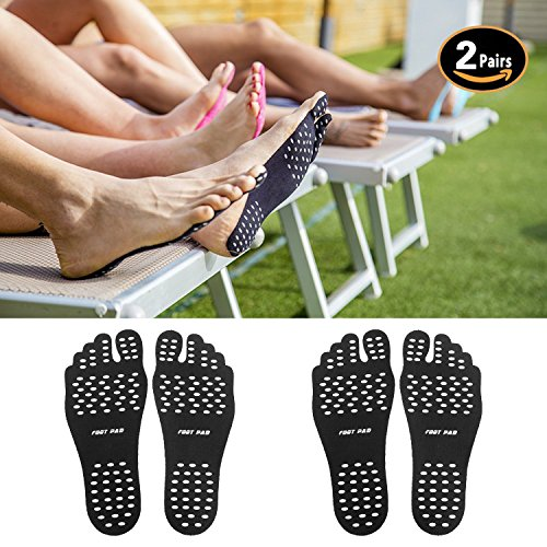 Barefoot Soles Stick feet pad Foot Stickers –with Waterproof and Anti-slip for Beach, Spa, Outdoor Pool, Street(2 pairs)