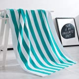 Exclusivo Mezcla 100% Cotton Cabana Striped Beach Towel Caribbean Blue and White (30'' x 60'')—Soft, Quick Dry, Lightweight, Absorbent, and Plush