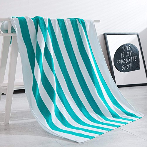 Cotton Beach Towel - Exclusivo Mezcla 100% Cotton Cabana Striped Beach Towel Caribbean Blue and White (30
