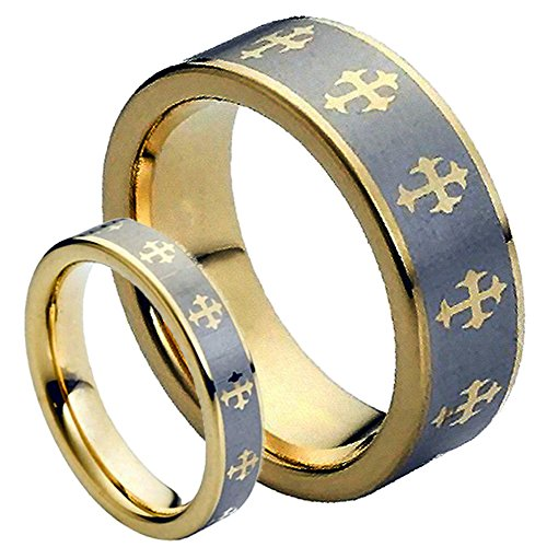 His & Her's 8MM/6MM Tungsten Carbide Gold plated With Crosses & Contrast Brushed Center Wedding Band Ring ()