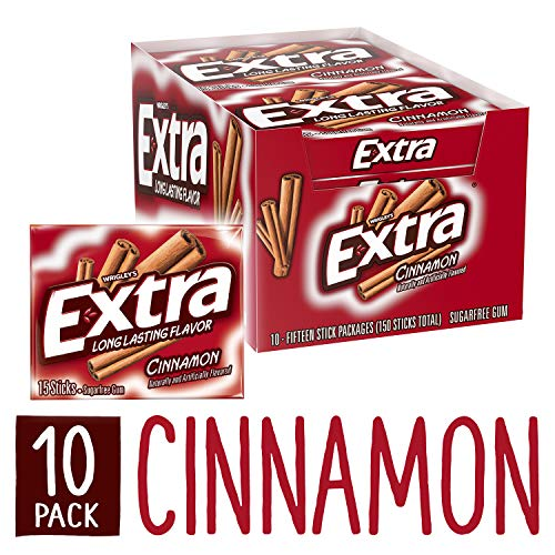 Extra Cinnamon Sugarfree Gum, 15 piece (Pack of 10)