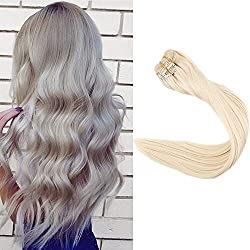 Full Shine 22inch Real Human Hair Clip in Extensions Blonde Color #60 Full Head Thick Clip in Hair Extensions 9Pcs 100gram Per Set