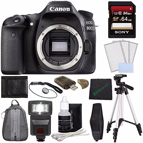 Canon EOS 80D DSLR Camera (Body Only) + Sony 64GB SDXC Card + Tripod + Flash + Deluxe Sling Digital SLR Camera Backpack Case + Card Reader + Cloth Bundle -  GreensCameraWorld, 1263C004--5