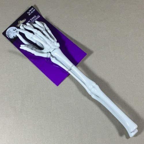 Forum Novelties 80848 Sala Halloween Skeleton Tongs Serving Hands Party Plastic Bone Zombie Salad Arms, one