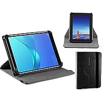 Navitech schwarz Ledertasche / Abdeckung mit 360 Drehständer für die Dragon Touch V10 10 inch GPS Android Tablet