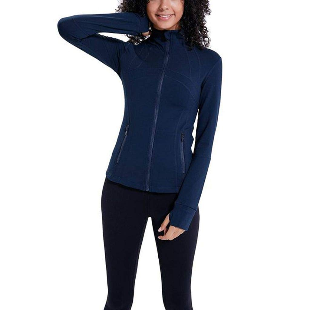 Women's Athletic Jackets, Stretchy Performance Full-Zip Workout Yoga Sports Coats with Thumb Holes