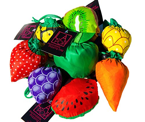 (LA Pop Design Expandable Fruit & Veggie Shopping Bags. Eco-friendly, Lightweight Grocery Bags - Pack of)