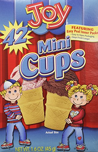 Joy Mini Cups Miniature Ice Cream Cones For Kids, Desserts, Cupcake Cones, Cake Pops 42 Count (1 Box/42 cones) ()