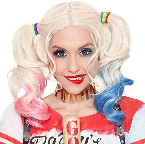 Pink Wig Halloween Costumes Idea (Harley Quinn Multi-color Lolita Long Curly Ponytail Hair Wig for Women Halloween Costume Cosplay Wigs)