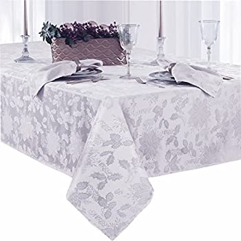Christmas Carol Damask No Iron Soil Release Holiday Tablecloth, 60 X 120  Inch Oblong,