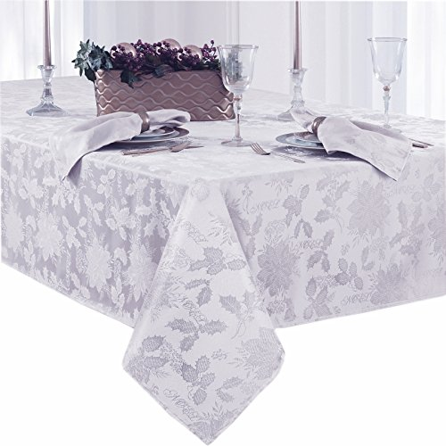 Christmas Carol Damask No Iron Soil Release Holiday Tablecloth, 60 x 120 Inch Oblong, White