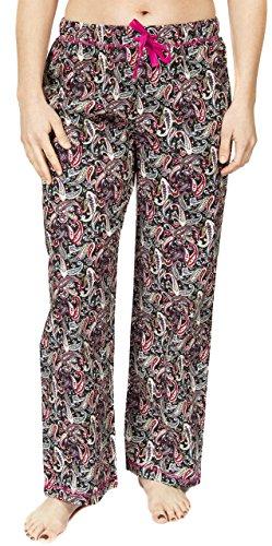 Leisureland Women's Cotton Poplin Pajama Lounge Pants, Sleep Pants, Sleepwear Bottoms Paisley Black ()