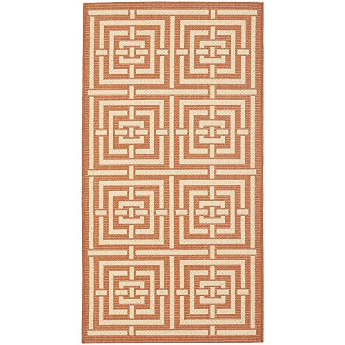 Safavieh Courtyard Collection CY6937-21 Terracotta and Cream Indoor/Outdoor Area Rug (4' x 5'7