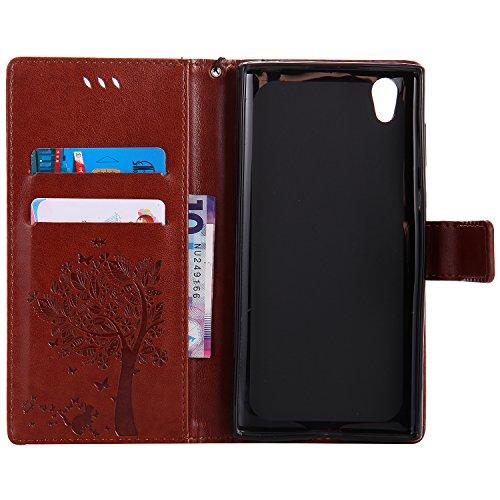 Funda Sony Xperia L1, SsHhUu Funda PU Piel Genuino [Ranuras para Tarjetas] [Cierre Magnetico] con Lápiz óptico + Acollador para Sony Xperia L1 / G3311 / G3312 / G3313 (5.5) Azul Café