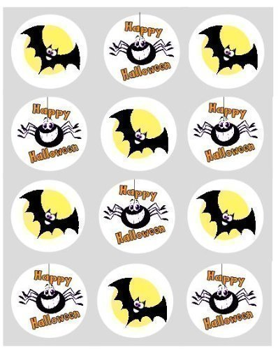 12 Bats & Spiders Halloween rice paper fairy
