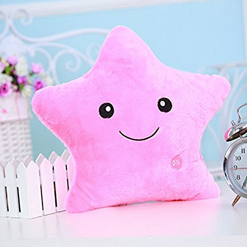 Missley Creative Star Pillow Glowing LED Night Light Star Shape Plush Pillow Stuffed Toys (Pink)