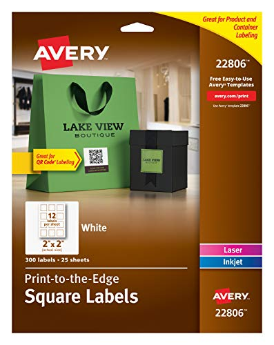 Avery Easy Peel Print-To-The-Edge, Permanent White Square Labels with True Block, 2