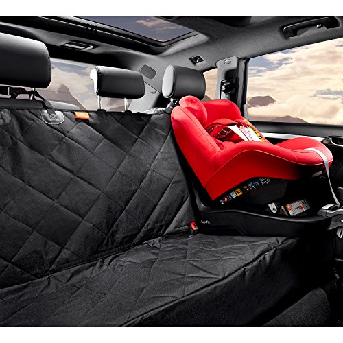 "Gudaco Premium Pet Car Seat Cover – WaterProof Dog Car Seat Cover for Cars, Trucks & SUVs, Use as Car Hammock or Back Seat Cover for Dogs – Nonslip Backing, 54""W x 58""L, Black (Dog Safety Belt in Set)"