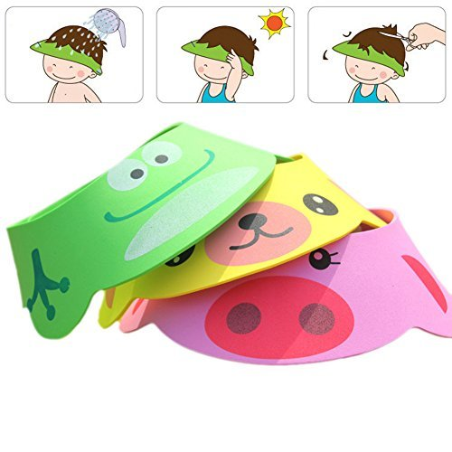 Rely2016 3Pcs Baby Shower Bathing Cap Frog Pig Bear Shampoo Hat, Four Gear - Shower Baby Frog