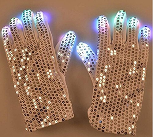 (Adults Teens Colorful Flashing LED Gloves Electronic Glowing Finger Gloves Light up Rave Gloves 6 Modes Mittens Toy Gift for Halloween Costume Christmas Birthday Party Club EDM Disco Night Magic)