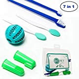 Pet Dog Toothbrush Cat Fingerbrush - Pet Oral Care Professional Set Soft Bristle Dual Double Sided Brush, Silicon Finger Brush, Puppy Teeth Cleaning Chewing Ball for Large and Small Dogs and Cats