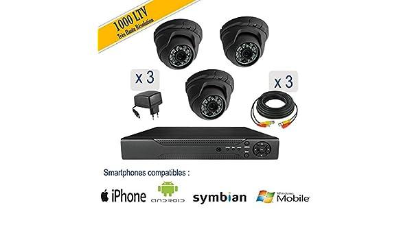 Nova IP – Kit videovigilancia 3 Montaje Cúpula 1000 LTV, IR 20 m ...