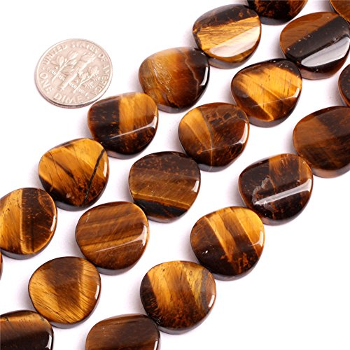 16mm Natural Semi Precious Twisted Coin Tiger Eye Gemstone Beads for Jewelry Making Strand 15