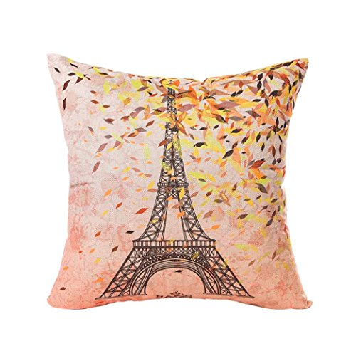 Pillow Cases Sofa Eiffel Tower Cushion Cover Home Decor Headrest Cushion Cover Case Hemlock (B) (Sales Boxing Day Sofa)