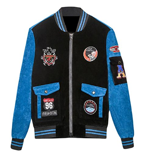 XINHEO Men with Zips Embroidery Stand up Collar Warm Jacket Coats Blue