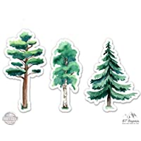 """GT Graphics Watercolor Trees Set of 3-4"""" Each Vinyl Stickers - For Car Laptop I-Pad - Waterproof Decals"""