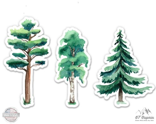 - GT Graphics Watercolor Trees Set of 3-4