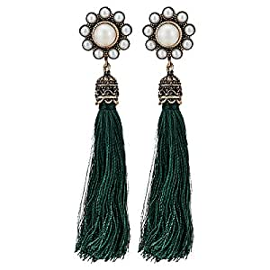 Leto Women's Alloy Drop and Dangle Earring - Green and White