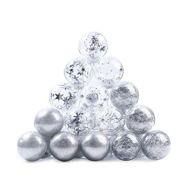 Joyjoz Decorazioni Albero di Natale Palline di Plastica, 6 cm di Diametro Palla di Natale Lucido riempita con Decorazioni Natalizi Raffinati Set 24 Pezzi 1 spesavip