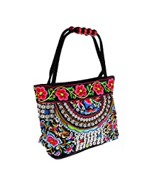 Homyl Vintage Boho Women Handbag Flower Totes Embroidery Shoulder Bag 31x51cm #6