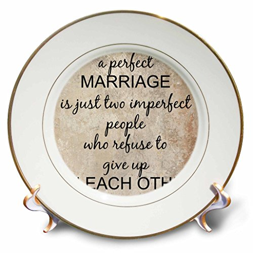 """3dRose cp_180092_1 a Perfect Marriage, Black Lettering on Picture of Marble Print Background Porcelain Plate, 8"""""""