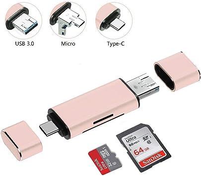 Lector de Tarjetas SD, SD/Micro SD/TF Lector de Tarjetas de Memoria con USB Tipo C/USB 3.0/Micro USB Macho, Compatible con PC/Mac, Smartphones Android y tabletas con función OTG: Amazon.es: Electrónica