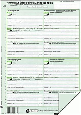 Avery Zweckform Vordruckantrag Auf Mahnbescheid A4 Ve 25
