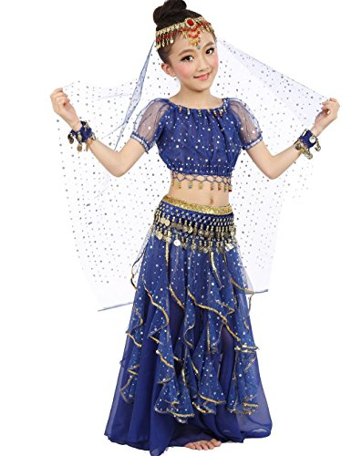 Girls Belly Dance Top Skirt Set Halloween Costume with Head Veil,Waist Chain,Dark Blue,L(Height: 51.2in-57.1in) -