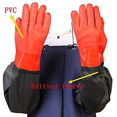 2 Pairs Long Working Durable Waterproof PVC Knitted Gloves with Cotton lining Fishing Operation Resistant Garden Gloves Agricultural Gloves-Large gloves