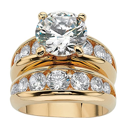 (Palm Beach Jewelry 14K Yellow Gold-Plated Round Cubic Zirconia Channel Set Bridal Ring Set Size 6 )