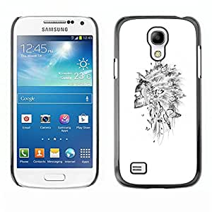 Plastic Shell Protective Case Cover || Samsung Galaxy S4 Mini i9190 MINI VERSION! || Skull Indian Headgear Feather White @XPTECH