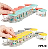 2 Pack Bundle - Sagely SMART Weekly Pill Organizer - Sleek AM/PM Pill Box with 7 Day Travel Containers and Free Reminder App (Mint Blue/Coral & Yellow/Gray)