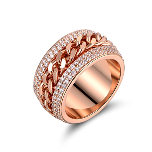 Barzel Rose Gold, White Gold or Rose Gold Plated & Swarovski Elements Braid Statement Ring (Rose Gold, 7)